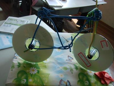 自行车:材料:废旧光盘与旧电线